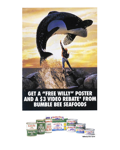 "AIM created ""Dolphin Safe and Whale Wise"" Bumble Bee Tuna Promotion. The first entertainment promotion to raise awareness and donations for a charity. $500K was raised Earth Island Institute"
